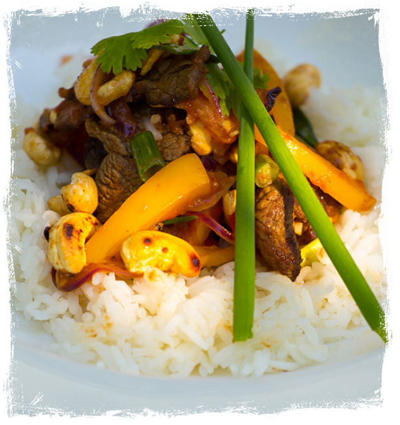 Rice Garnish With Sauteed Meat And Vegetables Mix